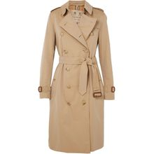 Burberry - The Kensington Long Trenchcoat Aus Baumwoll-gabardine - Beige