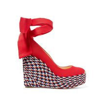 Christian Louboutin - Barbaria Zeppa 120 Espadrille-wedges Aus Canvas - Rot