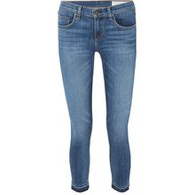 rag & bone - Dre Capri Halbhohe Skinny Jeans In Distressed-optik - Mittelblauer Denim