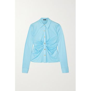 Versace - Ruched Satin-jersey Blouse - Blue