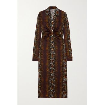 Versace - Ruched Snake-print Stretch-jersey Midi Shirt Dress - Brown