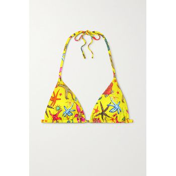 Versace - Printed Triangle Bikini Top - Bright yellow