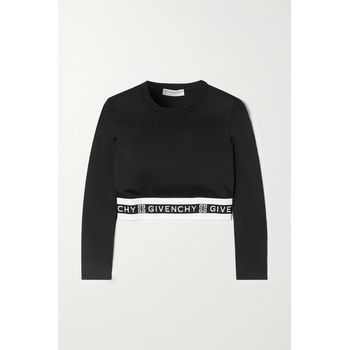 Givenchy - Cropped Jacquard-trimmed Jersey Top - Black