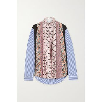 Prada - Paneled Striped Poplin And Floral-print Crepe Blouse - Pink